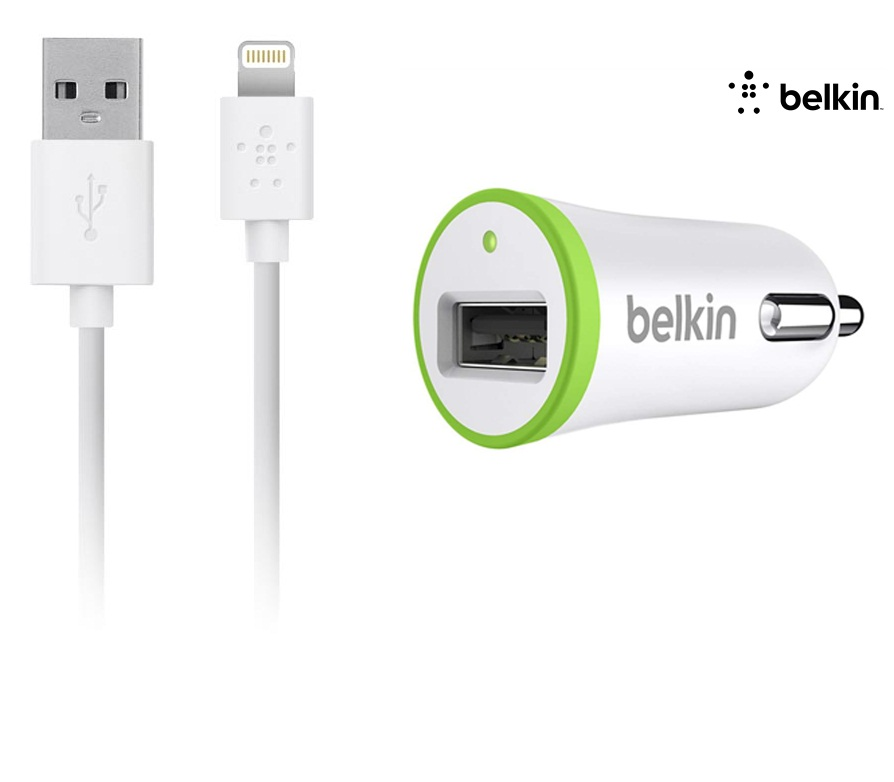 Автомобильное з/у Belkin 1-port car charger+charge/Sync Cable iPhone 5/5s/5c/6/6 Plus Белый