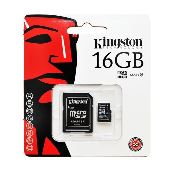 Карта памяти MicroSD 16GB Kingston Class 10 + SD адаптер