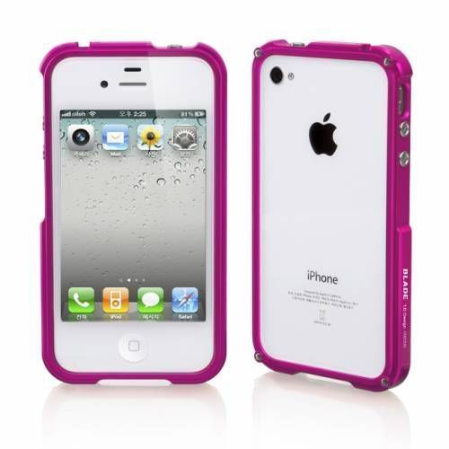 Бампер для Apple iPhone 4/4S Blade Premium metal case (Розовый)