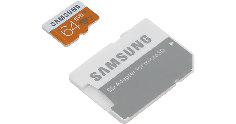 MicroSD 64GB  Samsung EVO Class10 UHS-I speed up to 48MB/s с адаптером