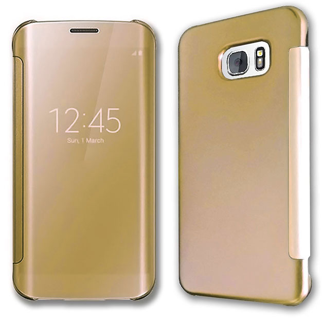Чехол-книжка для Samsung Galaxy S7 Edge, S View Clear Cover, золотой